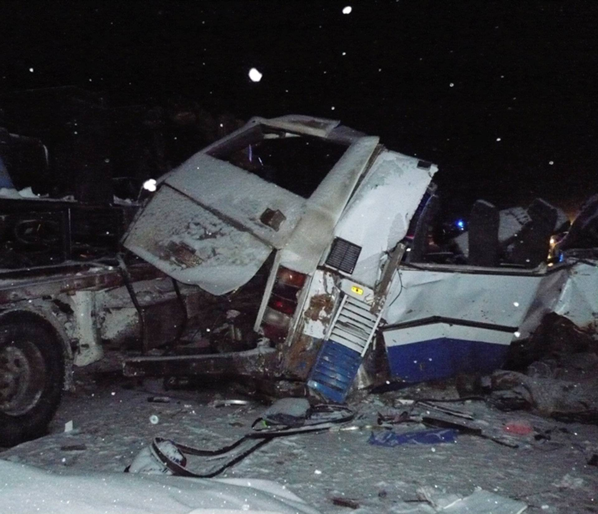 View shows wreckage of bus which got into road accident near Khanty-Mansiysk