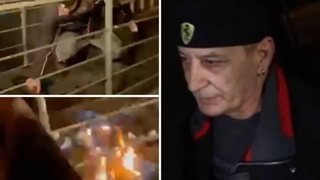VIDEO 'Sve ću vas ubiti, pe*eri i komunjare!' Priveli čovjeka koji je zapalio ulaz u stožer Možemo
