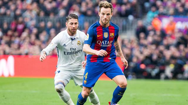 Match of La Liga between  Futbol Club Barcelona and Real Madrid  at Camp Nou Stadium