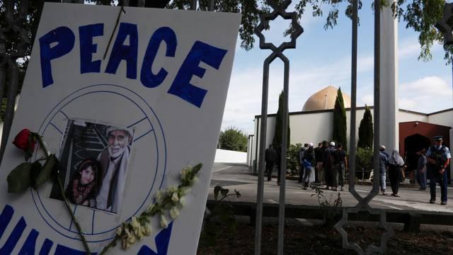 Muslim men are seen inside the reopened Al-Noor mosque in Christchurch
