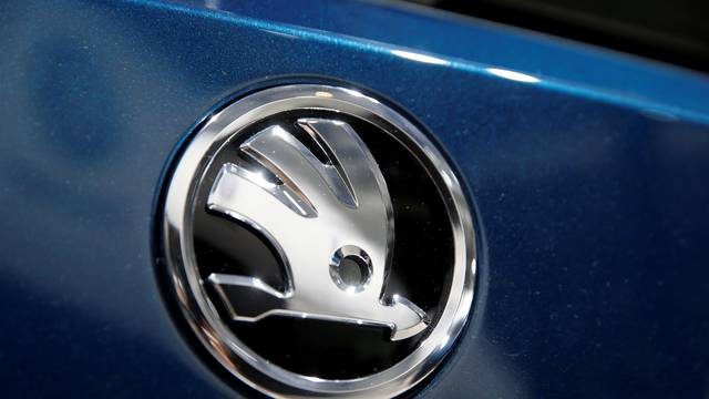 FILE PHOTO: Skoda logo is pictured during the Volkswagen Group's annual general meeting in Berlin
