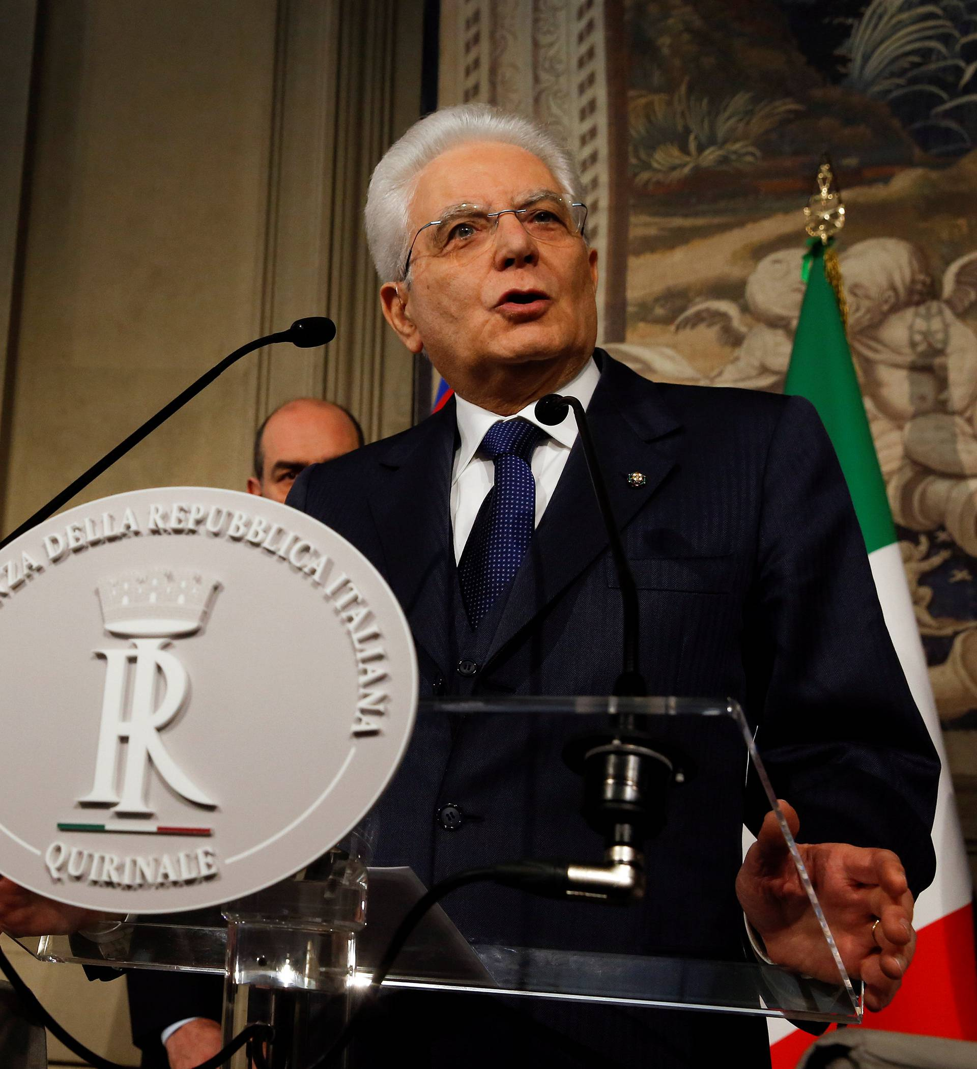 Italian President Sergio Mattarella speaks to the media during the second day of consultations at the Quirinal Palace in Rome