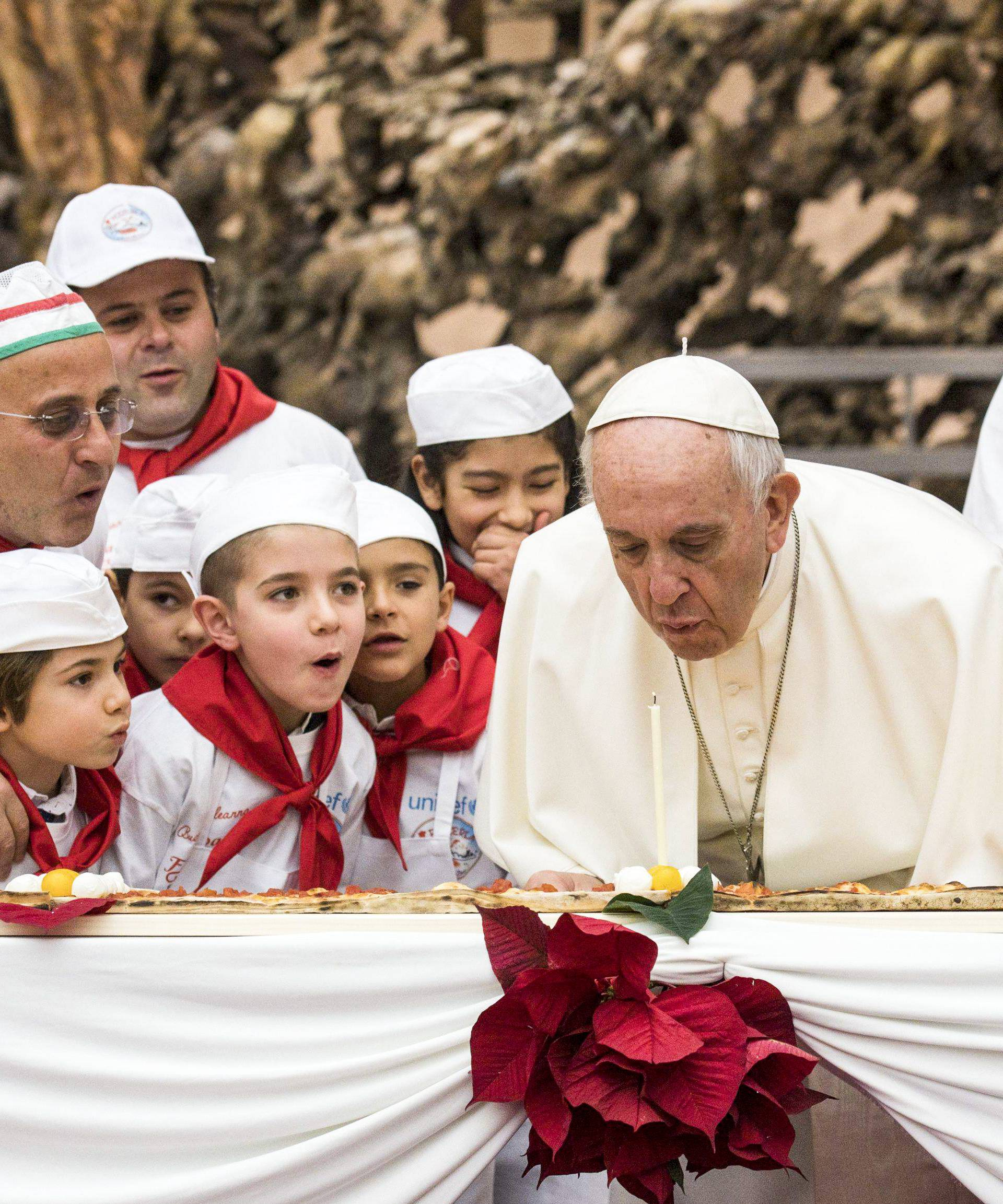 December 17, 2017 : Pope Francis meets with children in the Paul VI hall during a private audience on the occasion of his 81st birthday at the Vatican.