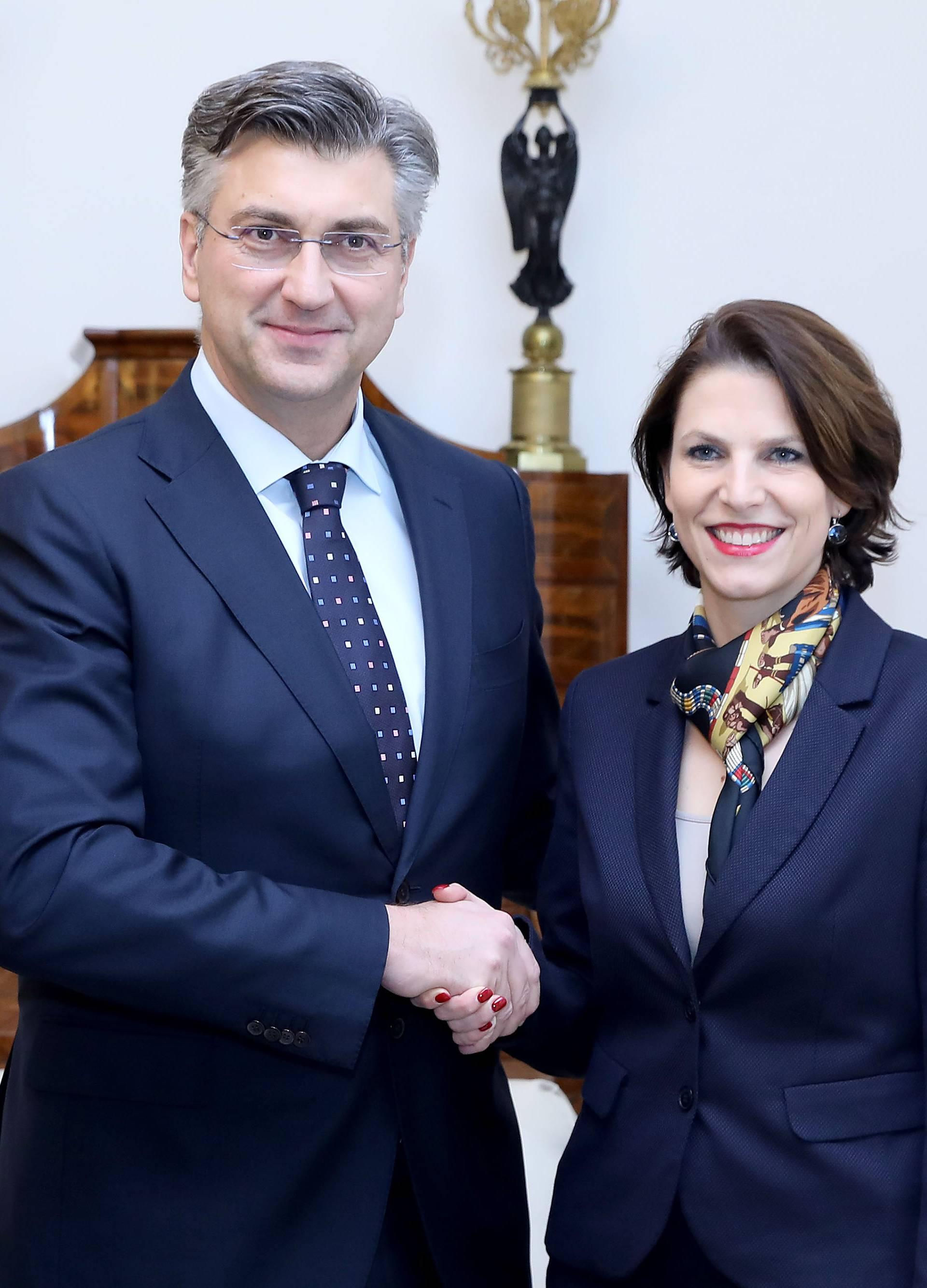 Zagreb: Plenković primio Karoline Edtstadler, saveznu ministricu za europske poslove Republike Austrije