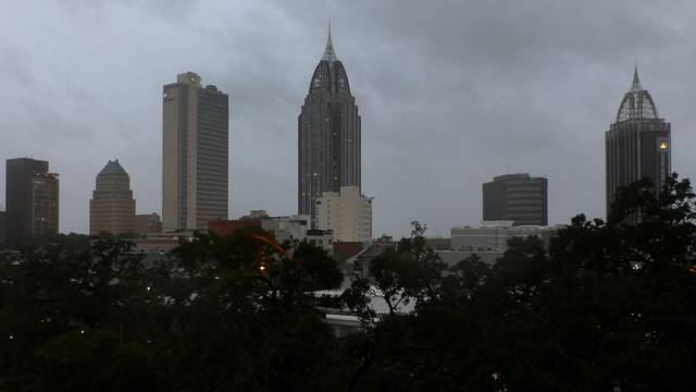 A view of downtown Mobile as Hurricane Sally approaches Mobile