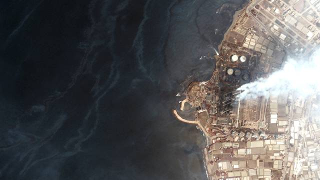 A satellite image shows an overview of Baniyas power plant in Baniyas, Syria, and the oil slick in the Mediterranean Sea