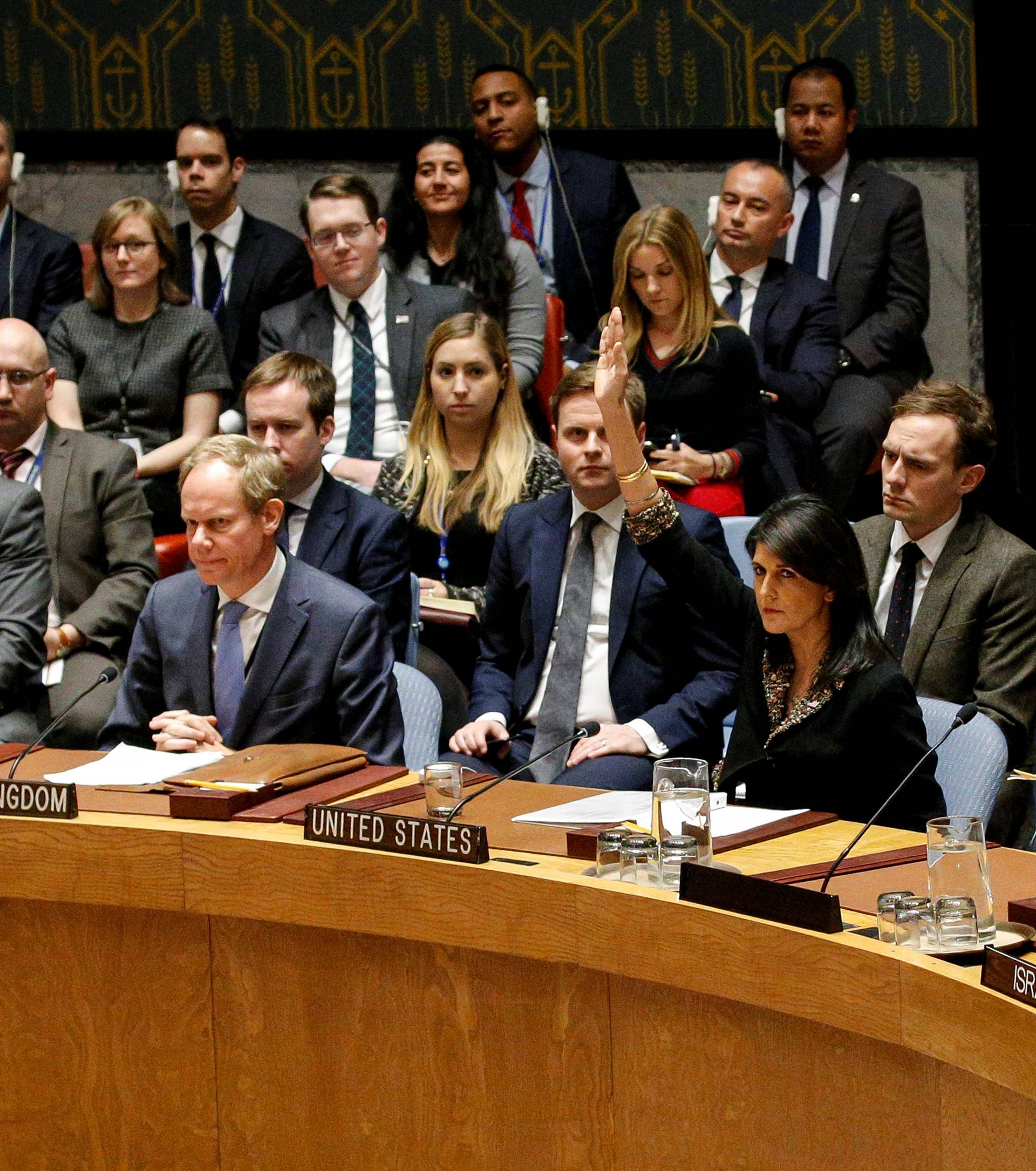U.S. Ambassador to the United Nations Nikki Haley vetos an Egyptian-drafted resolution regarding recent decisions concerning the status of Jerusalem, during the United Nations Security Council meeting in New York