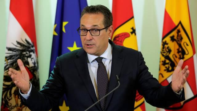 Austria's Vice Chancellor Strache addresses a news conference in Vienna