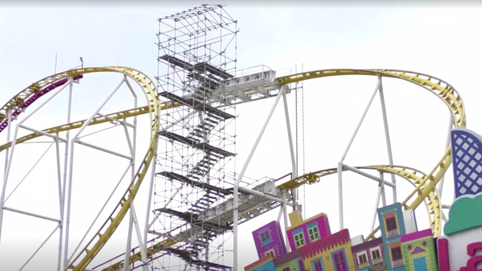 A rollercoaster with scaffolding on the side is pictured in Mexico City