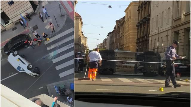 Sudar usred špice: Auto završio na boku u centru Zagreba, u bolnicu prevezli ozlijeđenu ženu