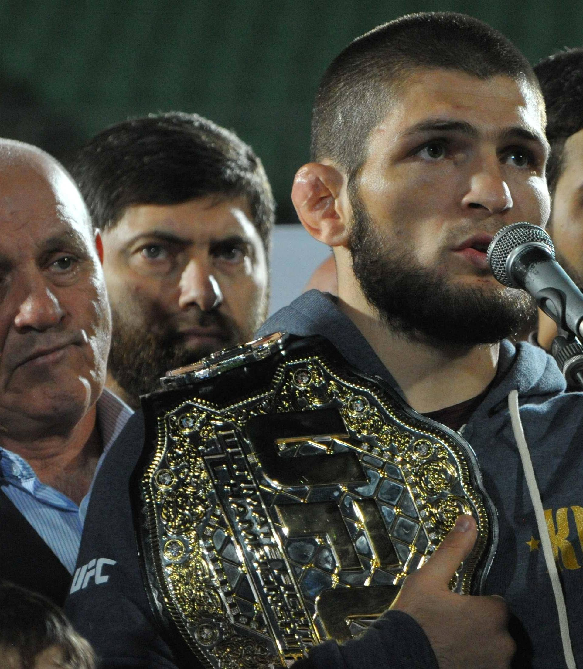 Russia's Nurmagomedov, UFC lightweight champion who defeated McGregor of Ireland in the main event of UFC 229, speaks during the ceremony of honouring him at Anzhi Arena in Kaspiysk