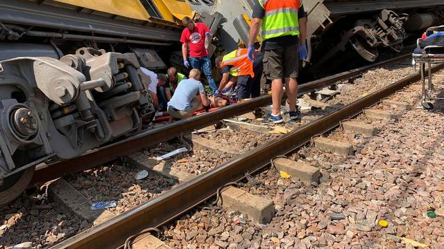 Emergency services are seen at the site of a train crash in Pretoria