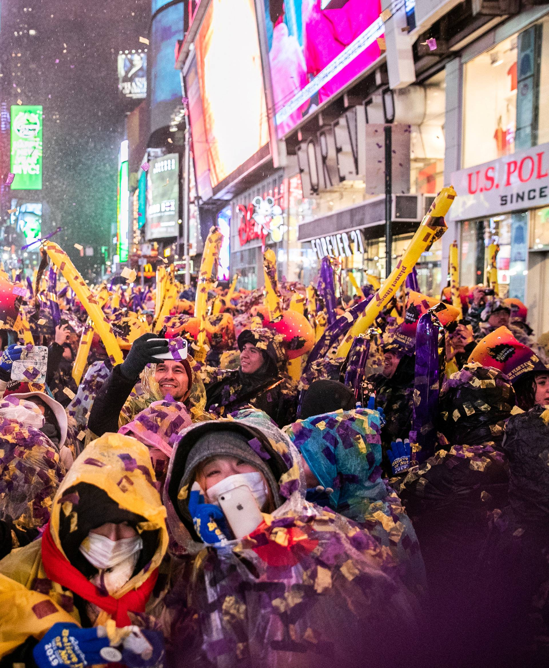 Revelers celebrate New Year's Eve in Times Square in Manhattan
