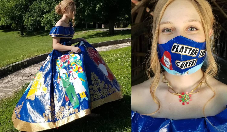 """Potrošila 750 metara ljepljive trake: Tinejđerka napravila """"korona"""" maturalnu haljinu"""