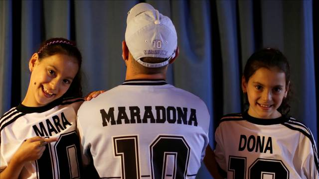 Walter Gaston Rotundo,a devoted Diego Maradona fan who named his twin daughters Mara and Dona after the soccer star, in Buenos Aires