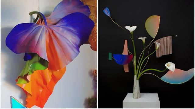 Cvjetni aranžmani u njenoj ruci postaju divne skulpture u boji