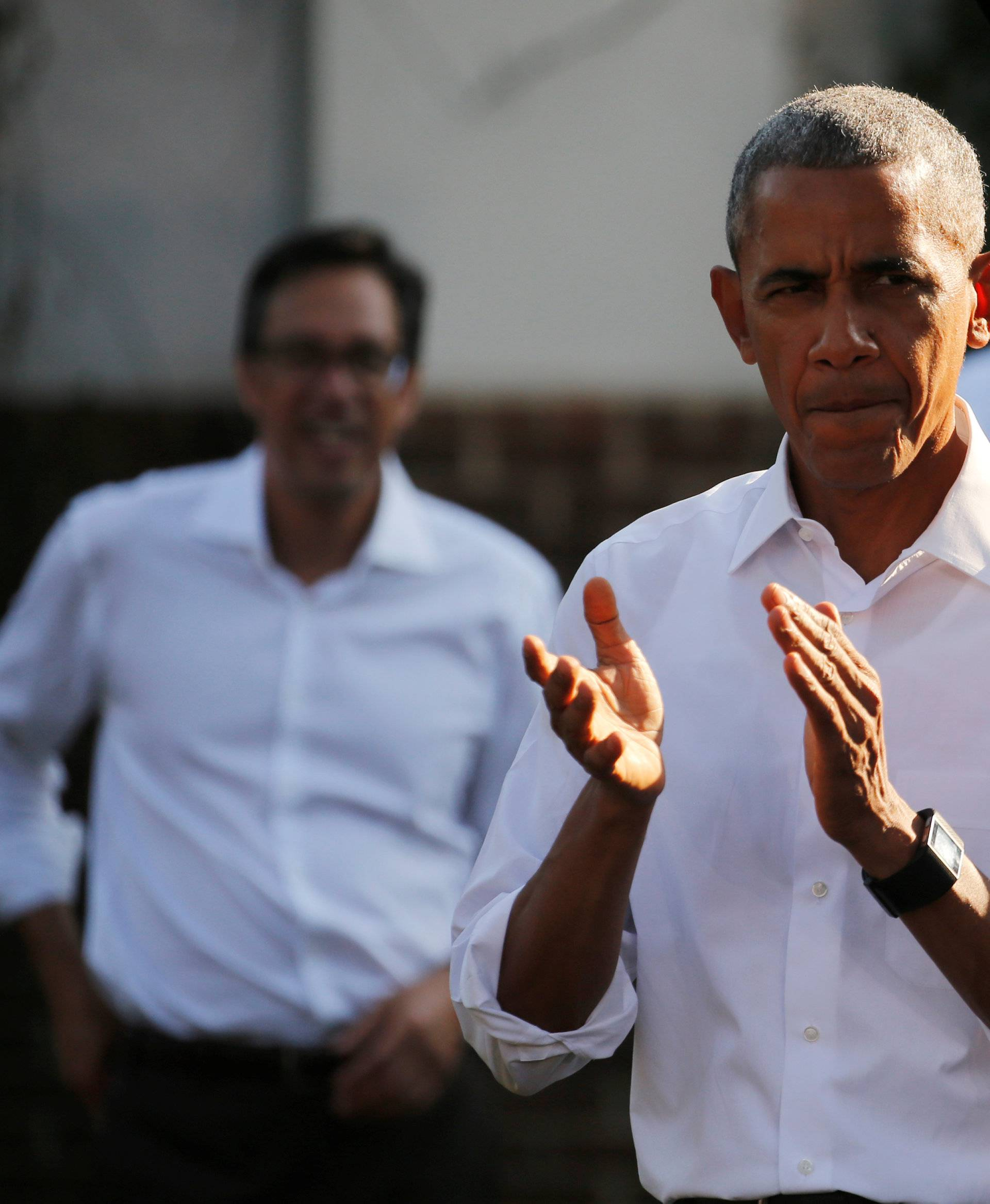 Obama takes the stage to deliver remarks at a campaign event in Chapel Hill, North Carolina