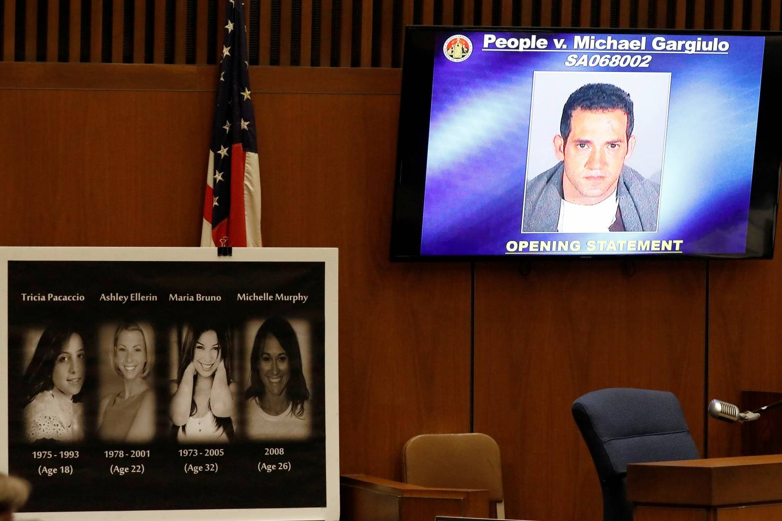 A mugshot of Michael Gargiulo is shown in court with photos of his alleged victims as he appears in court for opening statements in his murder trial in Los Angeles
