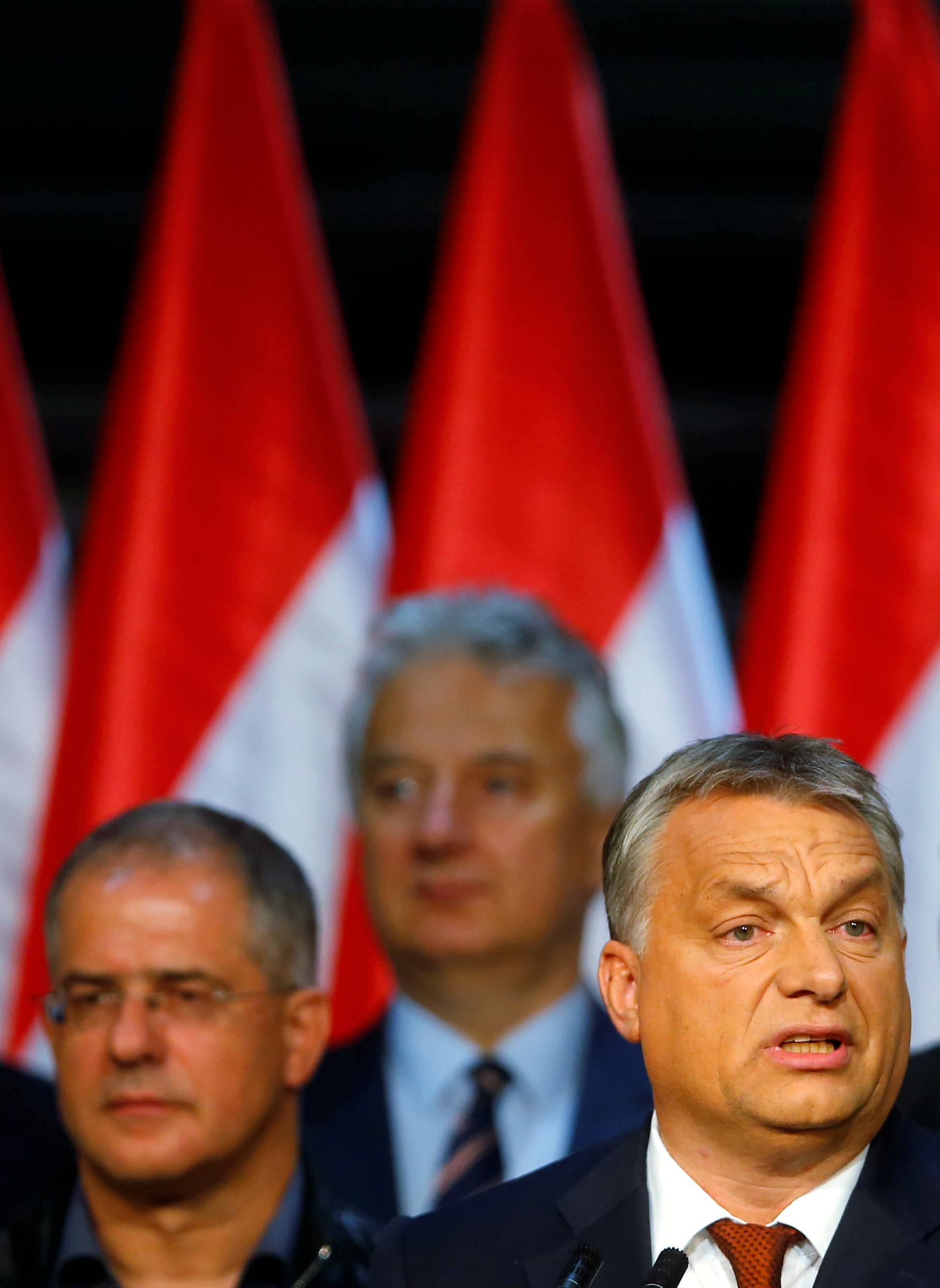 Hungarian Prime Minister Viktor Orban delivers a speech after a referendum on European Union's migrant quotas in Budapest
