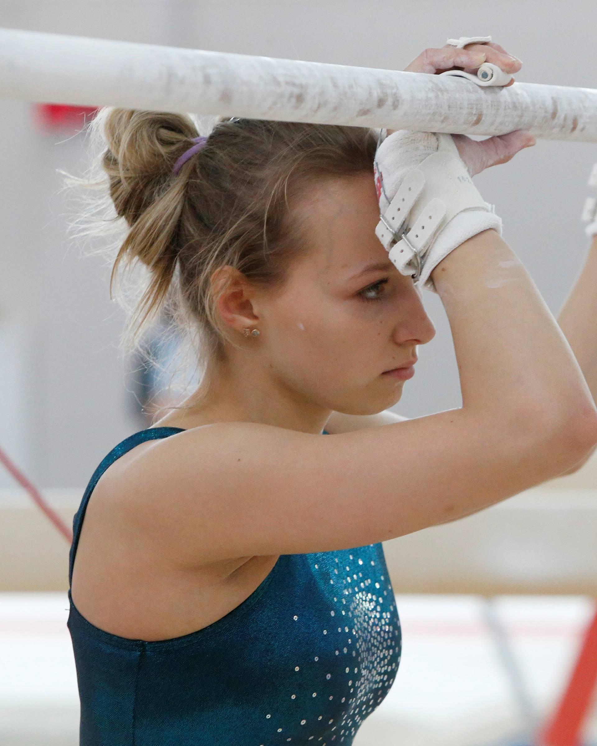Member of women's gymnastics Russian Olympic team Spiridonova attends training session at Ozero Krugloe training centre outside Moscow