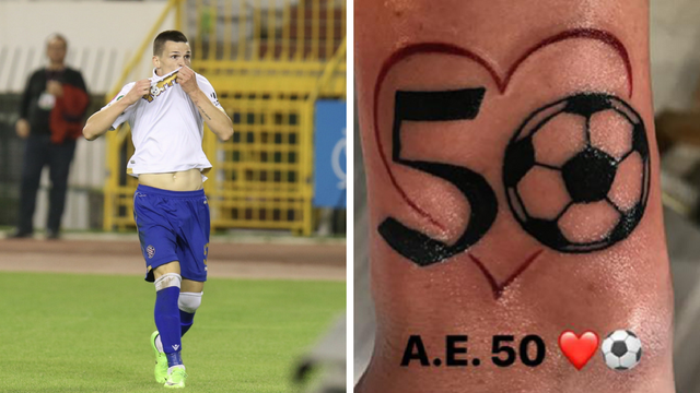 Nova tetovaža najveće zvijezde Hajduka: Broj 50 mu je u srcu