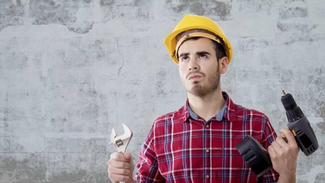 builder tools and construction helmet