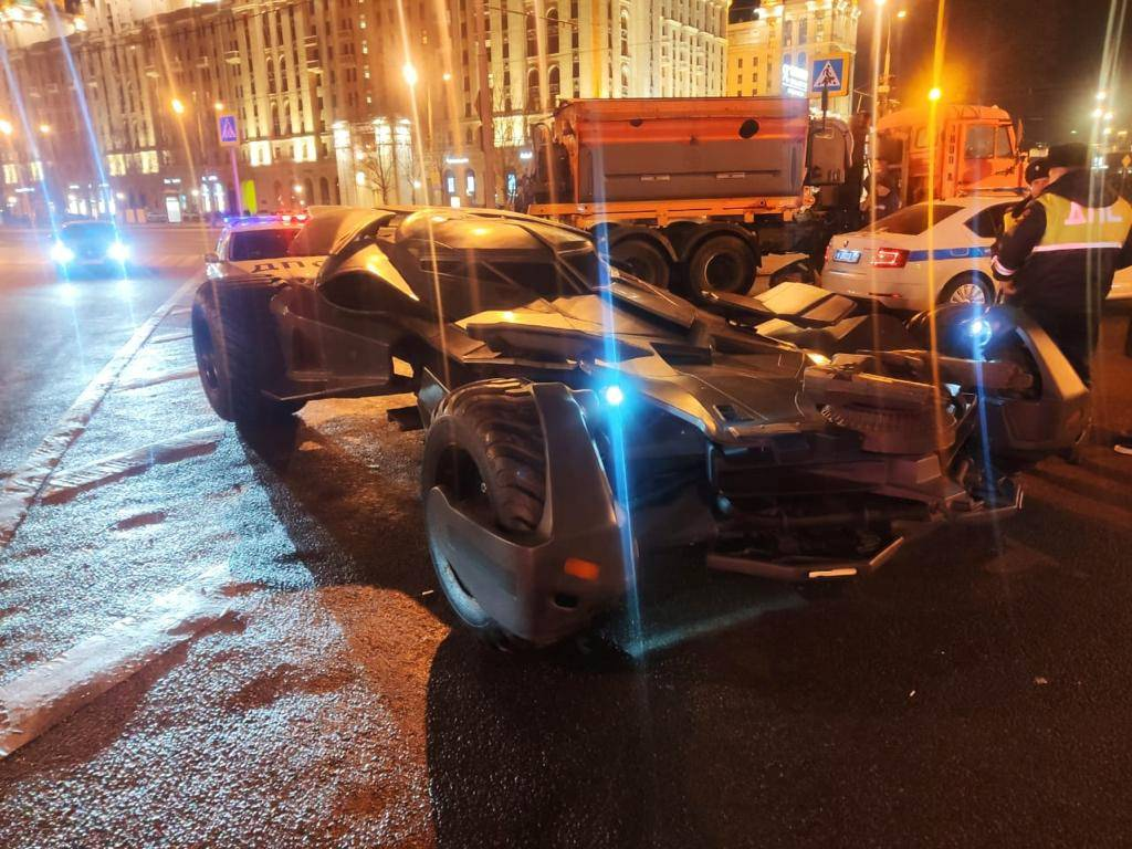 """A vehicle resembling the Batmobile from the film """"Batman v Superman: Dawn of Justice"""" stopped by traffic police in Moscow, is seen in this handout photo"""