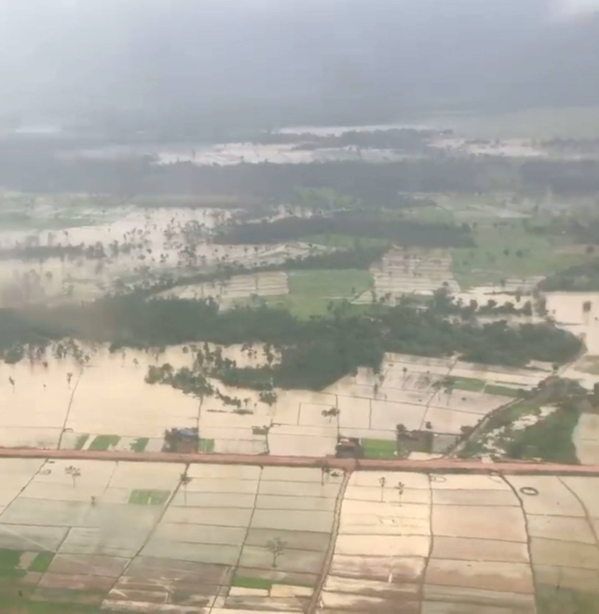 Aerial view shows the flooded area after a dam collapsed in Attapeu province