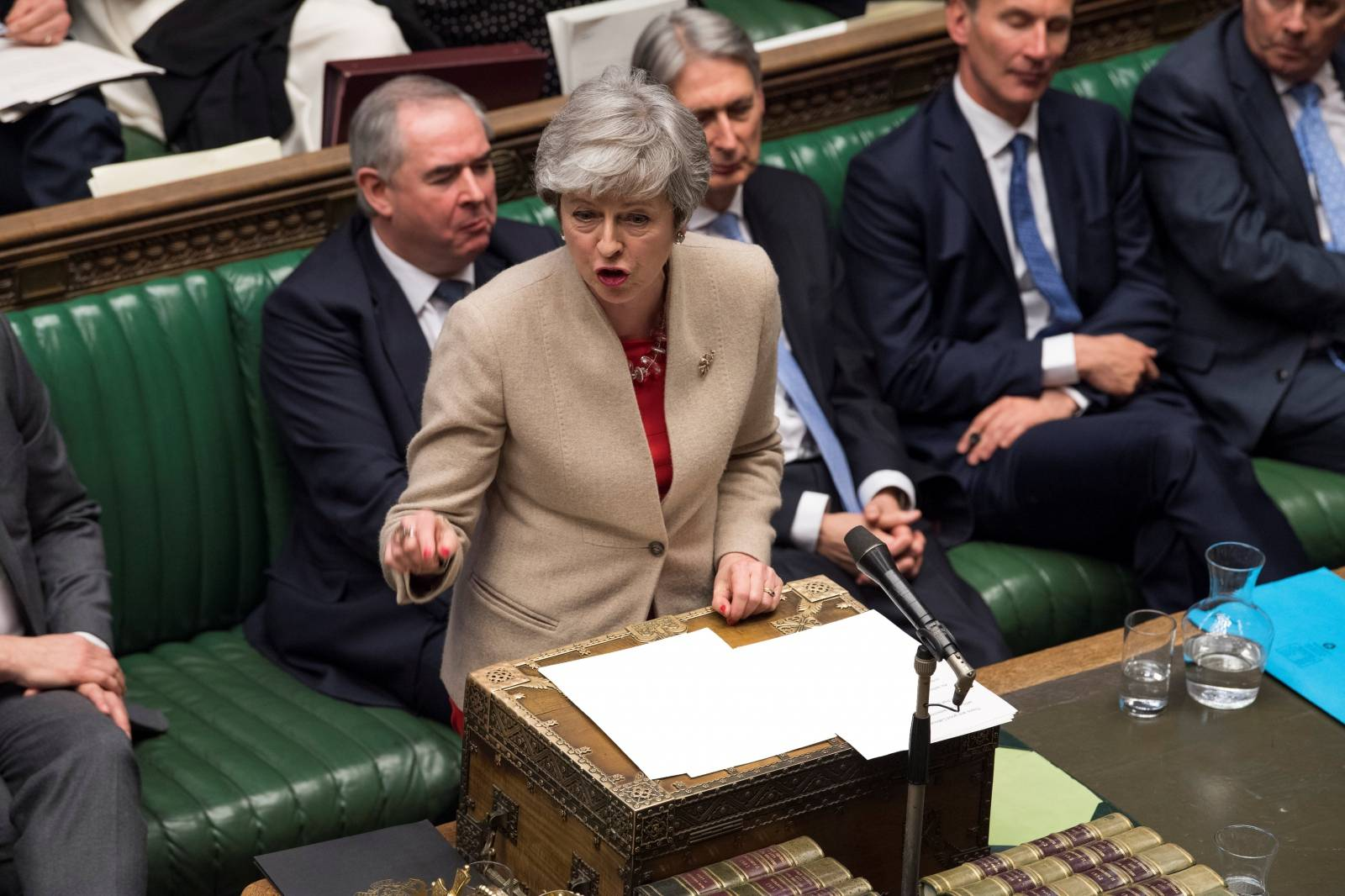 British Prime Minister Theresa May speaks at the House of Commons in London