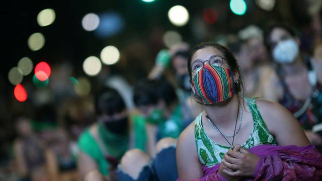 FILE PHOTO: Protest as deputies debate abortion bill in Buenos Aires