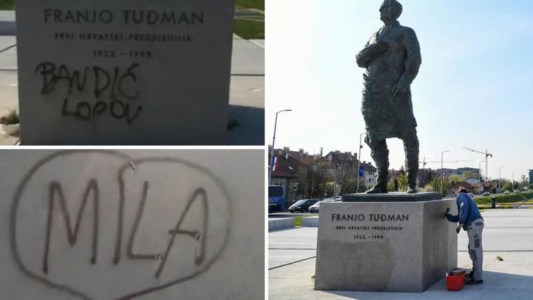 Policija ispituje muškarca zbog grafita na spomeniku Tuđmanu