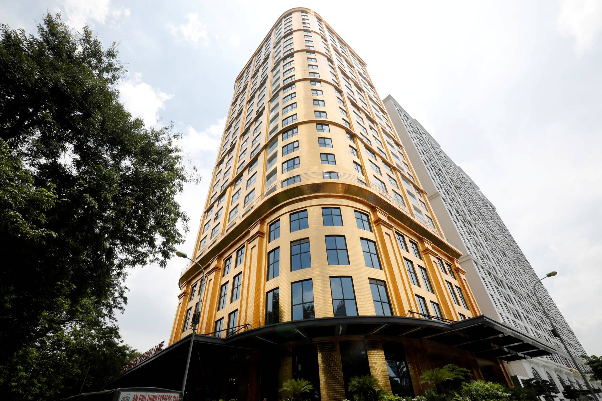 A view of the newly-inaugurated Dolce Hanoi Golden Lake hotel, which features gold plated exteriors and interiors, after the government eased a nationwide lockdown following the global outbreak of the coronavirus disease (COVID-19), in Hanoi