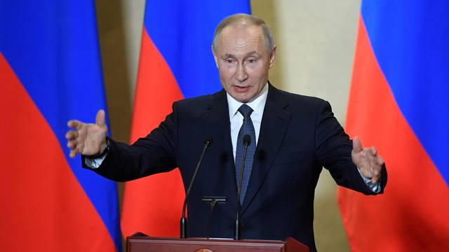 FILE PHOTO: Russian President Vladimir Putin delivers a speech in Sevastopol, Crimea