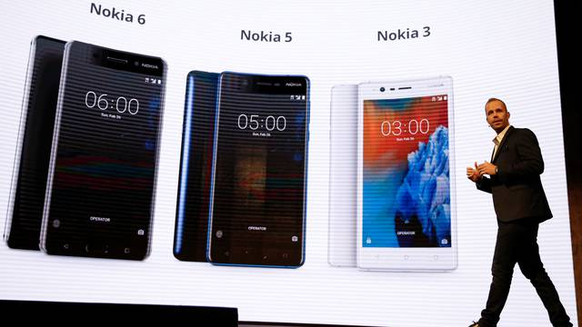 Sarvikas, Chief Product Officer of Nokia-HMD, speaks during presentation ceremony at Mobile World Congress in Barcelona