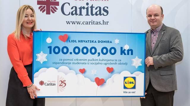 Lidl donira 100 tisuća kuna za 25 godina hrvatskog Caritasa