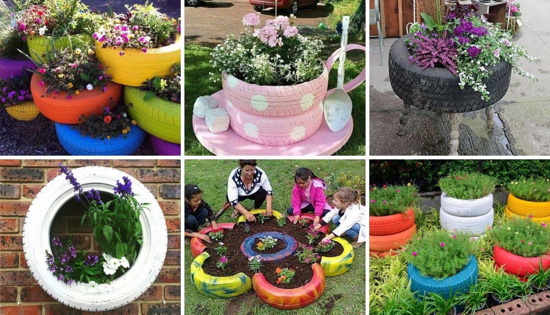 Napravite posude za cvijeće od starih guma - za vrt ili balkon