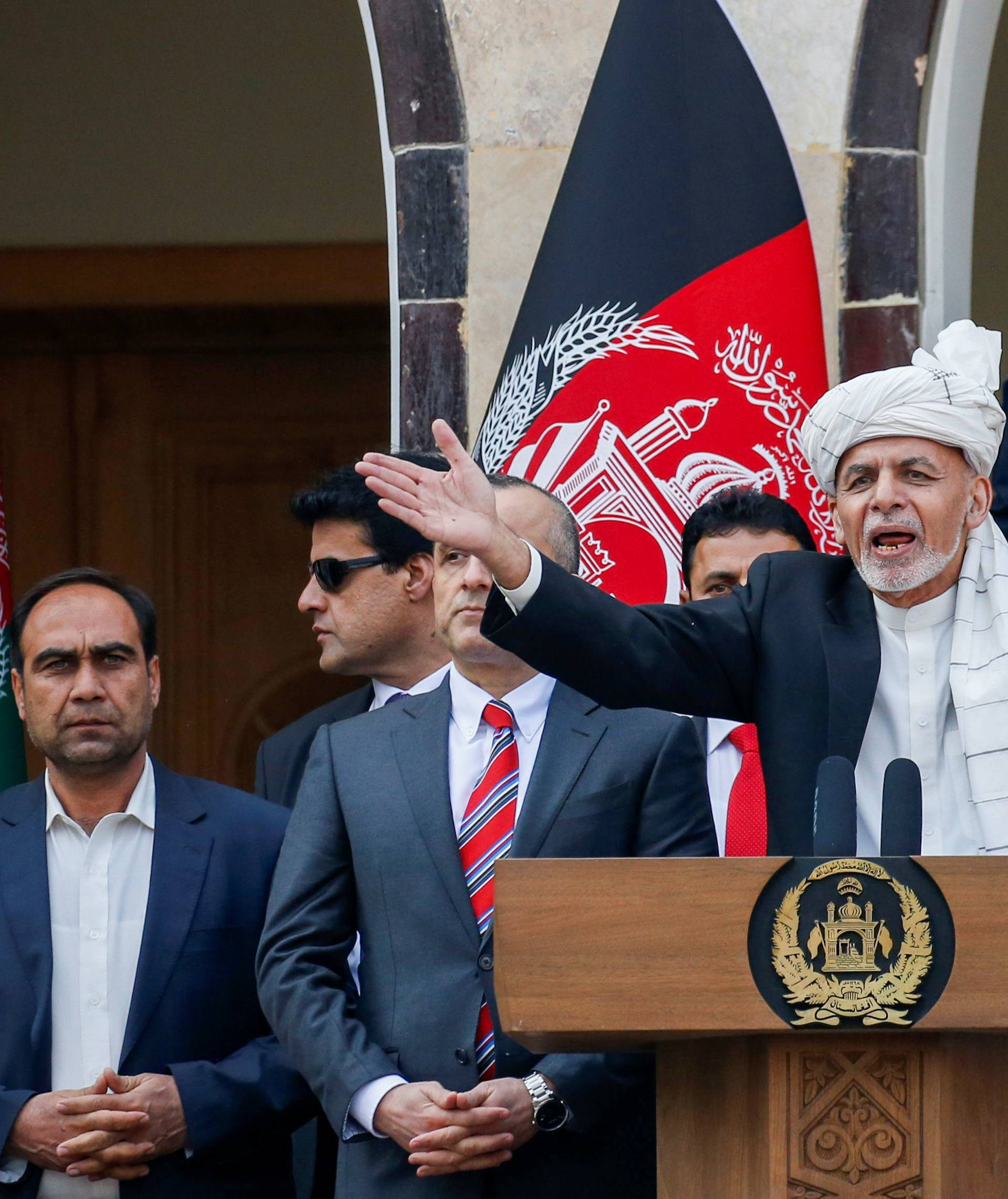Afghanistan's President Ashraf Ghani speaks during his inauguration as president, in Kabul