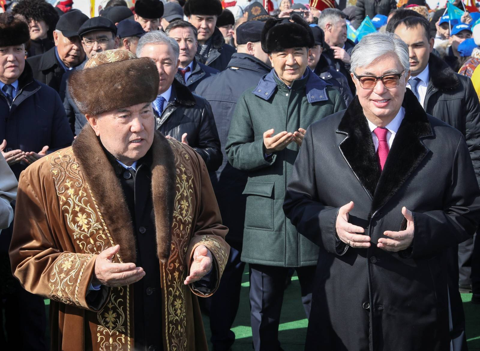 Former Kazakh President Nazarbayev and President Tokayev visit a fair of Navruz festival in Astana