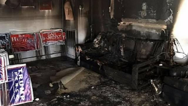 Napad na Trumpa: Zapalili mu stožer i napisali 'Nacisti van!'