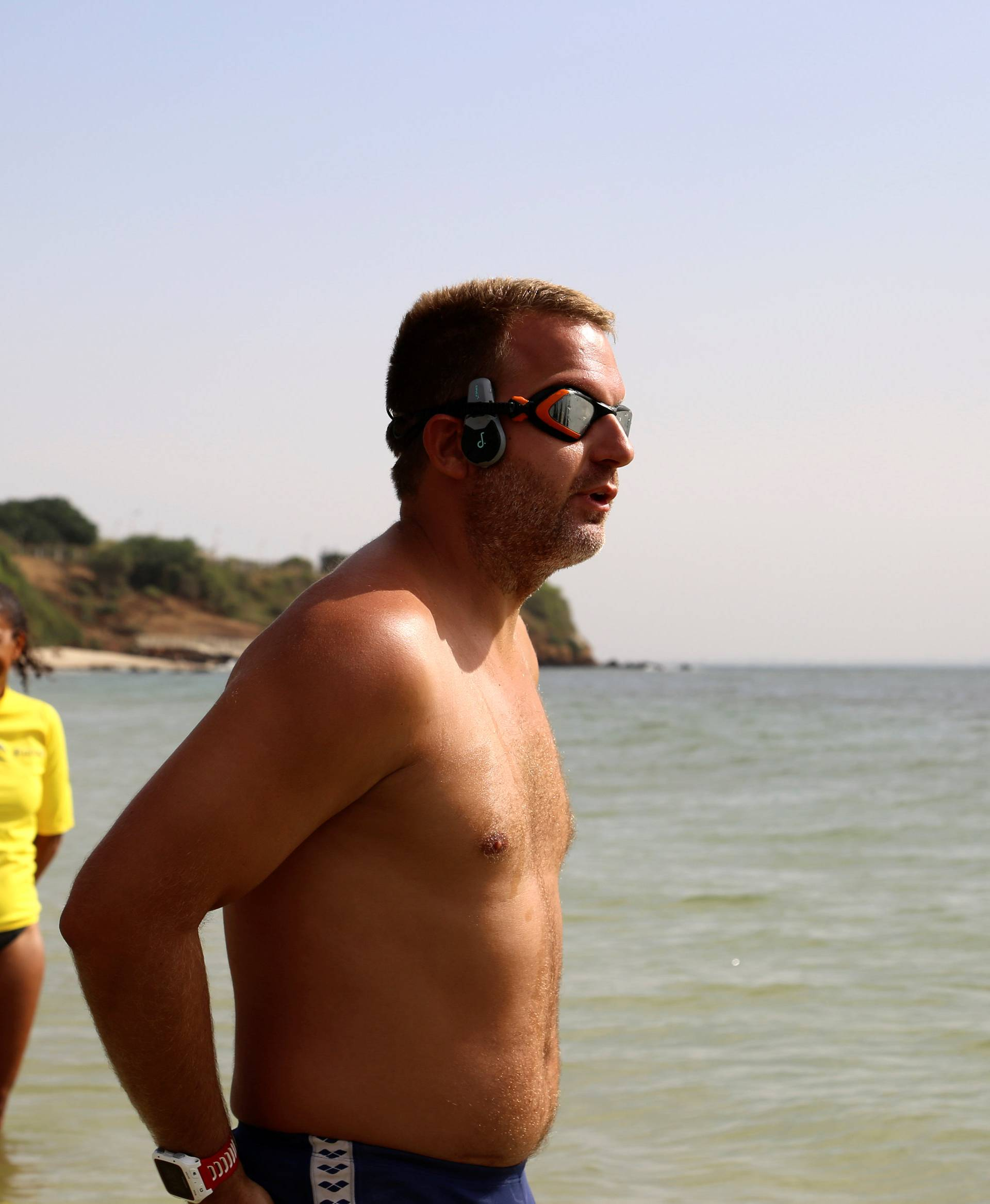 Ben Hooper prepares to begin an expedition to become the first swimmer to make a verified crossing of the Atlantic Ocean in Dakar