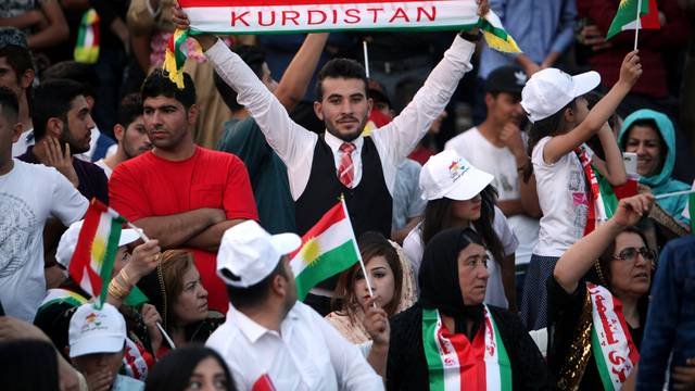 Kurds celebrate to show their support for the upcoming September 25th independence referendum in Erbil