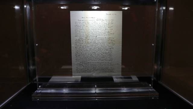 "A letter known as ""The God Letter""  written by Albert Einstein and addressed to philosopher Eric Gutkind from 1954 is seen on display at Christie's auction house ahead of it's sale in New York"