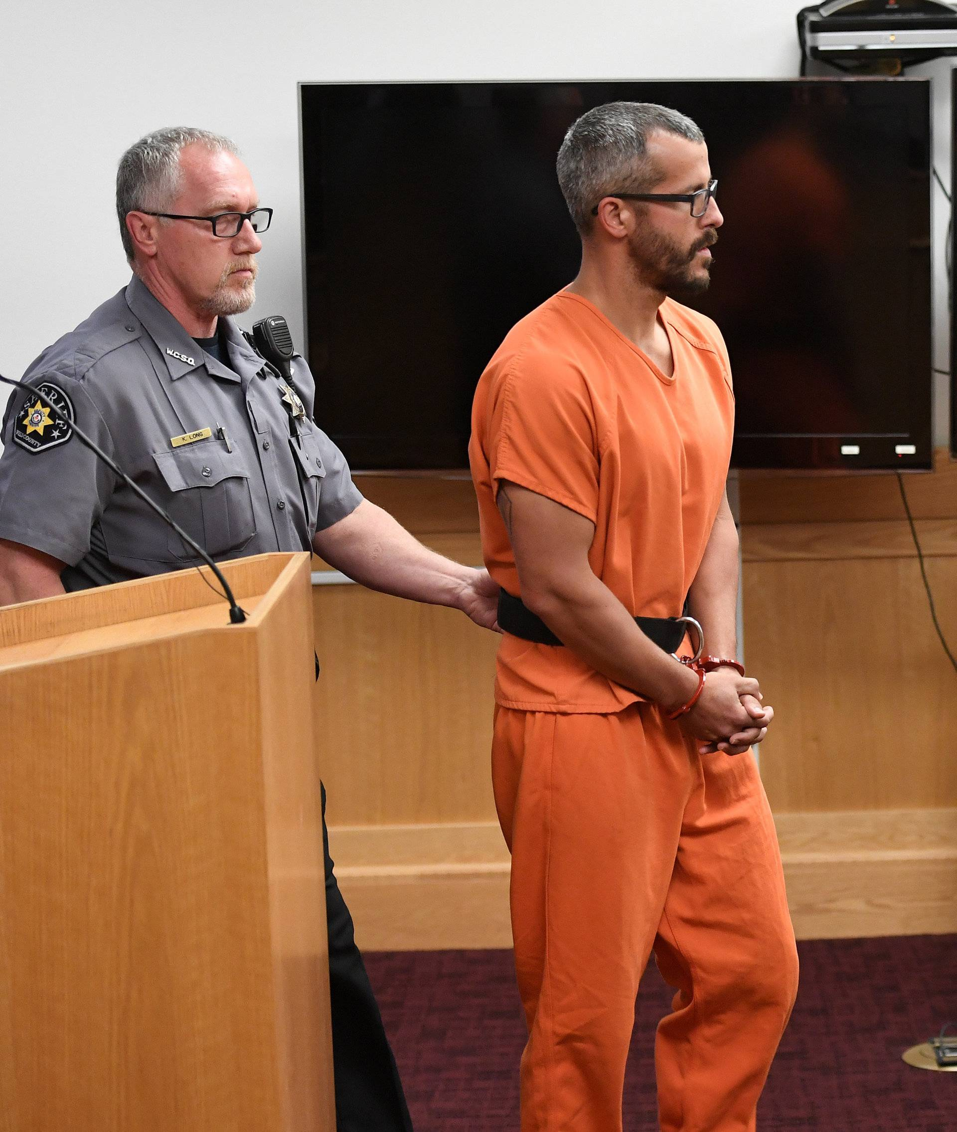 FILE PHOTO: Christopher Watts appears in court for his arraignment hearing in Greeley