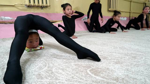 Young contortionists practice at a training school in Ulaanbaatar