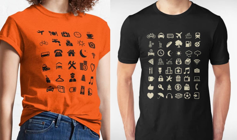 Majice s temom gradova ukrašene su poznatim ikonama