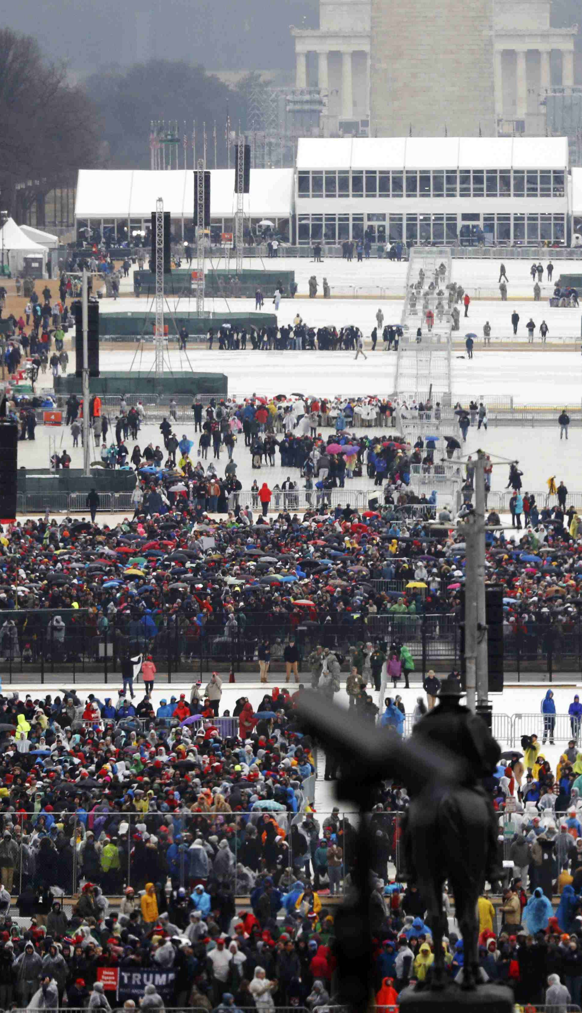 Spectators gather for the inauguration ceremonies swearing in Donald Trump as the 45th president of the United States on the West front of the U.S. Capitol in Washington