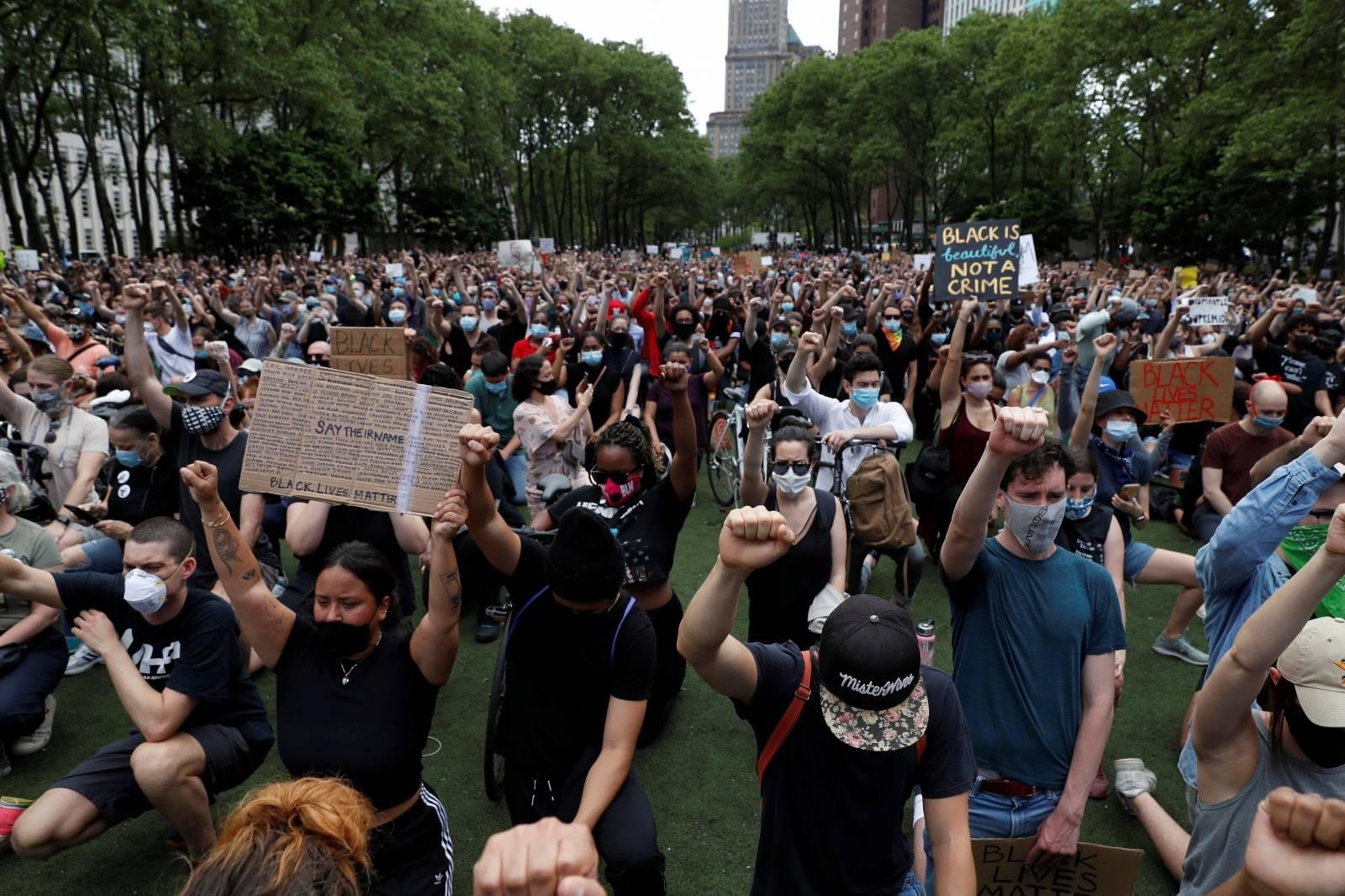 People attend public memorial after the death in Minneapolis police custody of George Floyd in Brooklyn New York