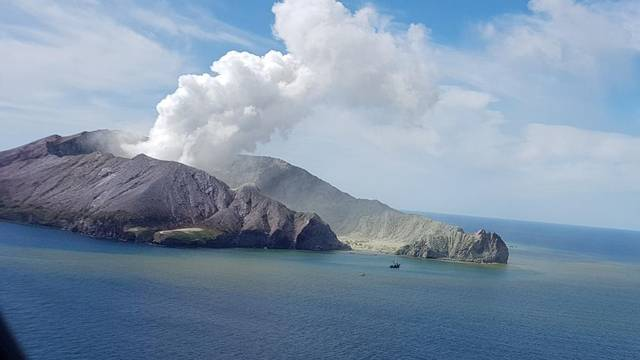 A view of White Island, New Zealand from a helicopter, after a volcanic eruption December 9, 2019, in this picture obtained from social media