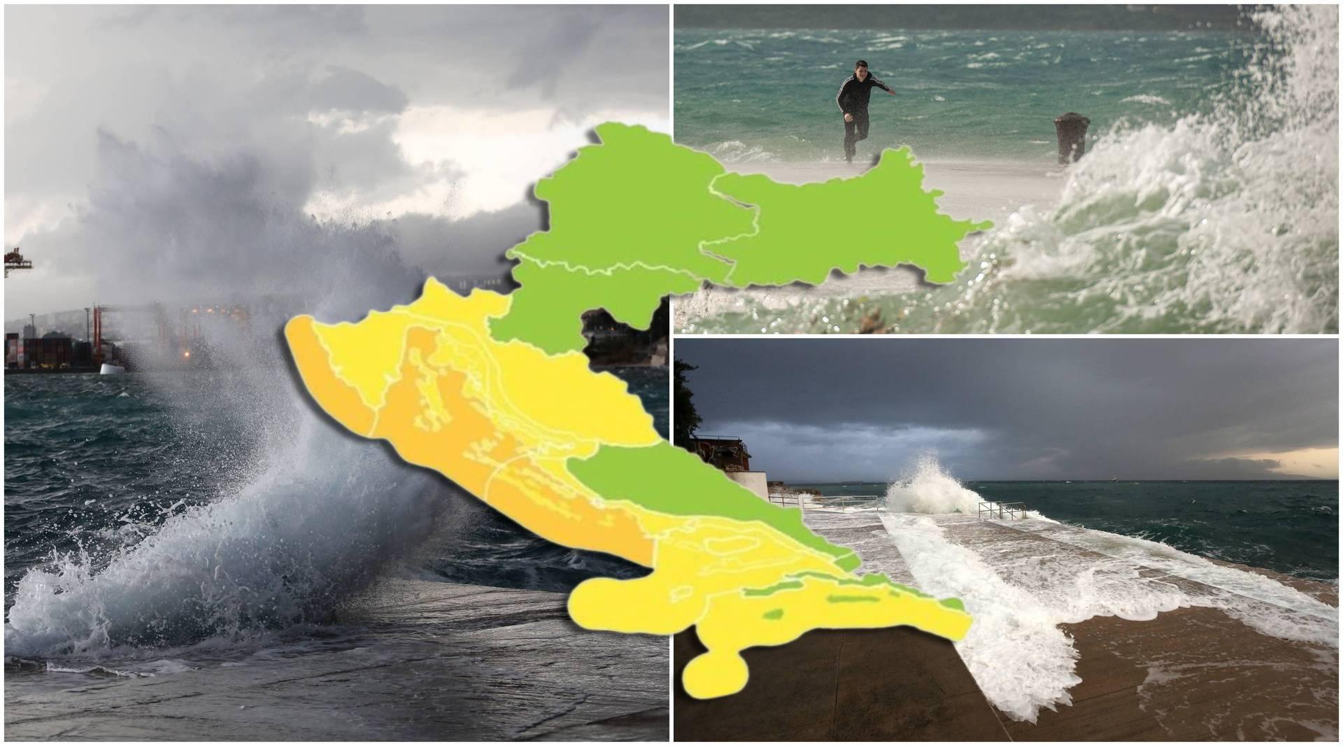 Jugo će dizati višemetarske valove, puhat će i do 100 km/h! Izdali su  narančasto upozorenje