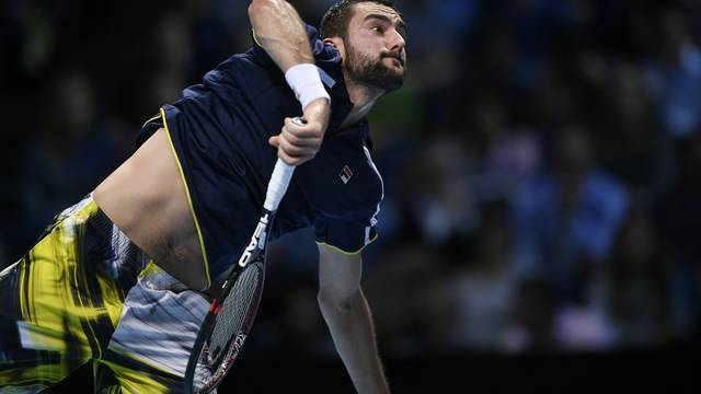 Croatia's Marin Cilic in action during his round robin match against Great Britain's Andy Murray